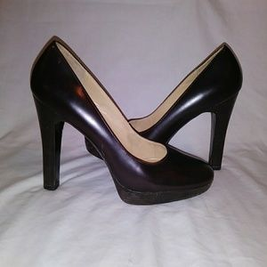 Michael Kors leather stacked high heals brown